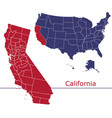 california map counties with usa map vector image