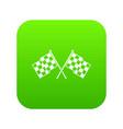 checkered racing flags icon digital green vector image
