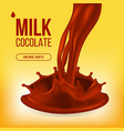 chocolate splash cream liquid milk swirl vector image