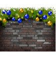 christmas background on brick wall vector image