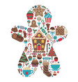christmas sweet print in gingerbread man shape vector image