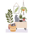 cozy room interior with cat sitting on cupboard vector image vector image