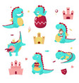 cute dragon icon set isolated vector image