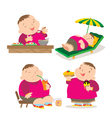 cute fat boy eating action vector image vector image