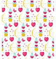 Cute seamless pattern Valentines Day with flowers vector image vector image
