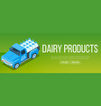 delivery milk truck vector image