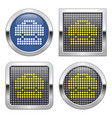 dotted icon briefcase on glossy button in four vector image