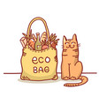 eco bag color with eco bag and cute vector image