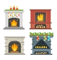 fireplace isolated on white vector image vector image