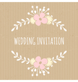 flowers and laurels romantic wedding design card vector image