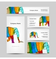 Funny striped elephant Business card for your vector image