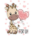 giraffe with balloon on a hearts background vector image vector image