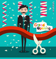 grand opening flat design cartoon with man in vector image vector image