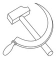 hammer and sickle contour vector image