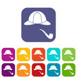 hat and pipe icons set vector image vector image