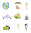 Icons Set of Traveling Tourism and Journey Object vector image vector image