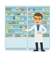 Male pharmacist on medicine background