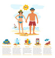 man and woman sunbathing infographics couple vector image vector image