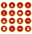 oil industry icons set simple style vector image vector image