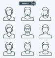 people icons linear flat style vector image