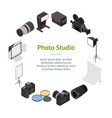photo studio equipment banner card circle vector image vector image