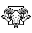 ram skull black and white emblem vector image vector image