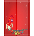 Red Background of Christmas Ornament and Gift Box vector image
