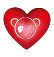red heart shape with silhouette face cute panda vector image