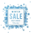 Sale banner with blue snowflakes