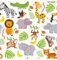 seamless pattern jungle animals vector image vector image