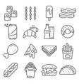 set fast food line icons vector image