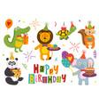 set isolated funny animals happy birthday vector image