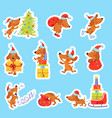 set of christmas new year stickers with cute dog vector image vector image