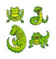 set of green cartoon reptiles vector image