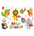 set of isolated funny animals happy birthday vector image vector image
