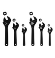 Set of mechanical wrenches with nuts Silhouettes vector image vector image