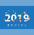 soccer players in action on 2019 new year vector image vector image