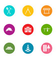 street construction icons set flat style vector image vector image