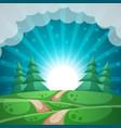 summer landscape sun fir forest road vector image