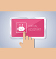 tablet screen with virtual assistant vector image vector image