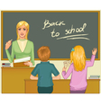 Teacher at blackboard in classroom with children vector image