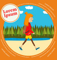 teenager hiker with backpack walking outdoor vector image