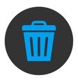 Trash Can flat blue and gray colors round button vector image vector image