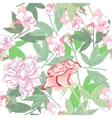 White seamless pattern with peonies and rose vector image vector image