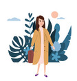 young girl in a yellow coat goes about his vector image vector image