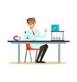 young physicist sitting behind the desk with hand vector image vector image