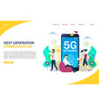 5g network website landing page design vector image vector image