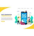 5g network website landing page design vector image