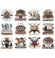 american wild west saloon sheriff cowboy rodeo vector image vector image