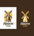 bakery bread logo or label farm agriculture vector image vector image